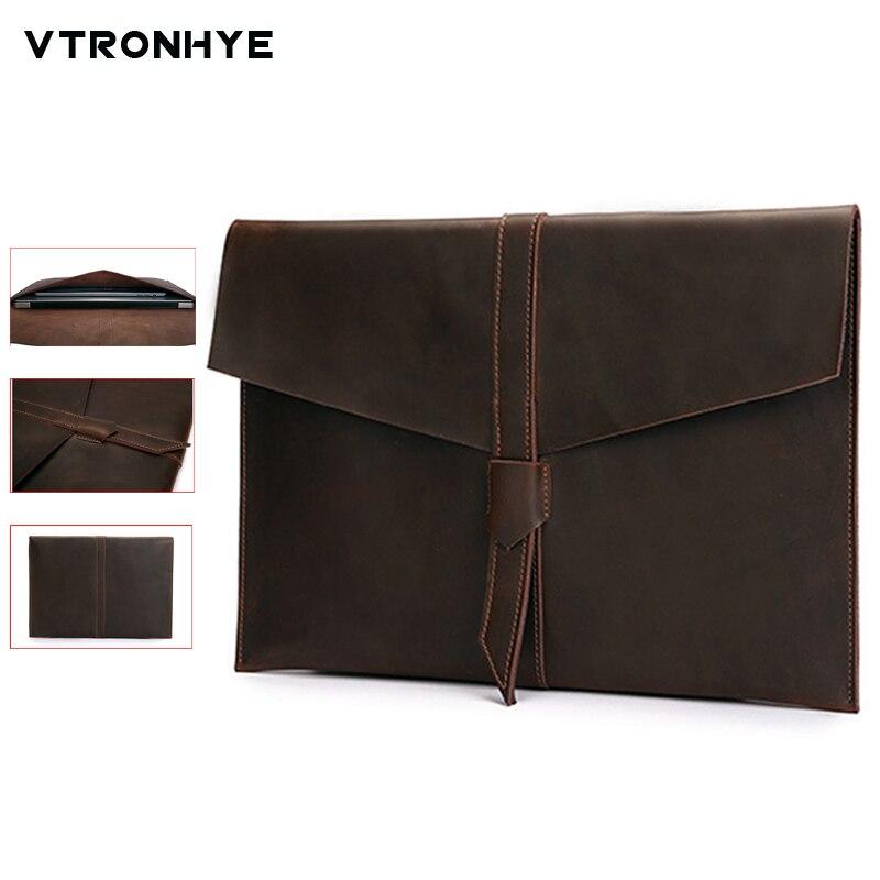 Retro Envelope Leather Laptop Bag for Macbook Pro 13 15 Retina for Mac book air 11 13 Inch Notebook Case Handbag for Men Women