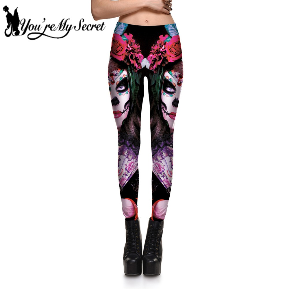 [You're My Secret] 2018 Fashion Dead Girl Skull Women   Legging   High Quality Halloween Party Workout Fitness Plus Size   Leggings