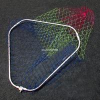 SAMSFX Fly Fishing Landing Net Trout Fish Saver Triangular Folding Stainless Steel Head Ring Frame and Tuck Brail Net No Handle