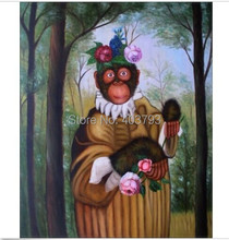 High Quality Hand Painted Oil Painting Monkey Holding Flowers 20x24in no framed