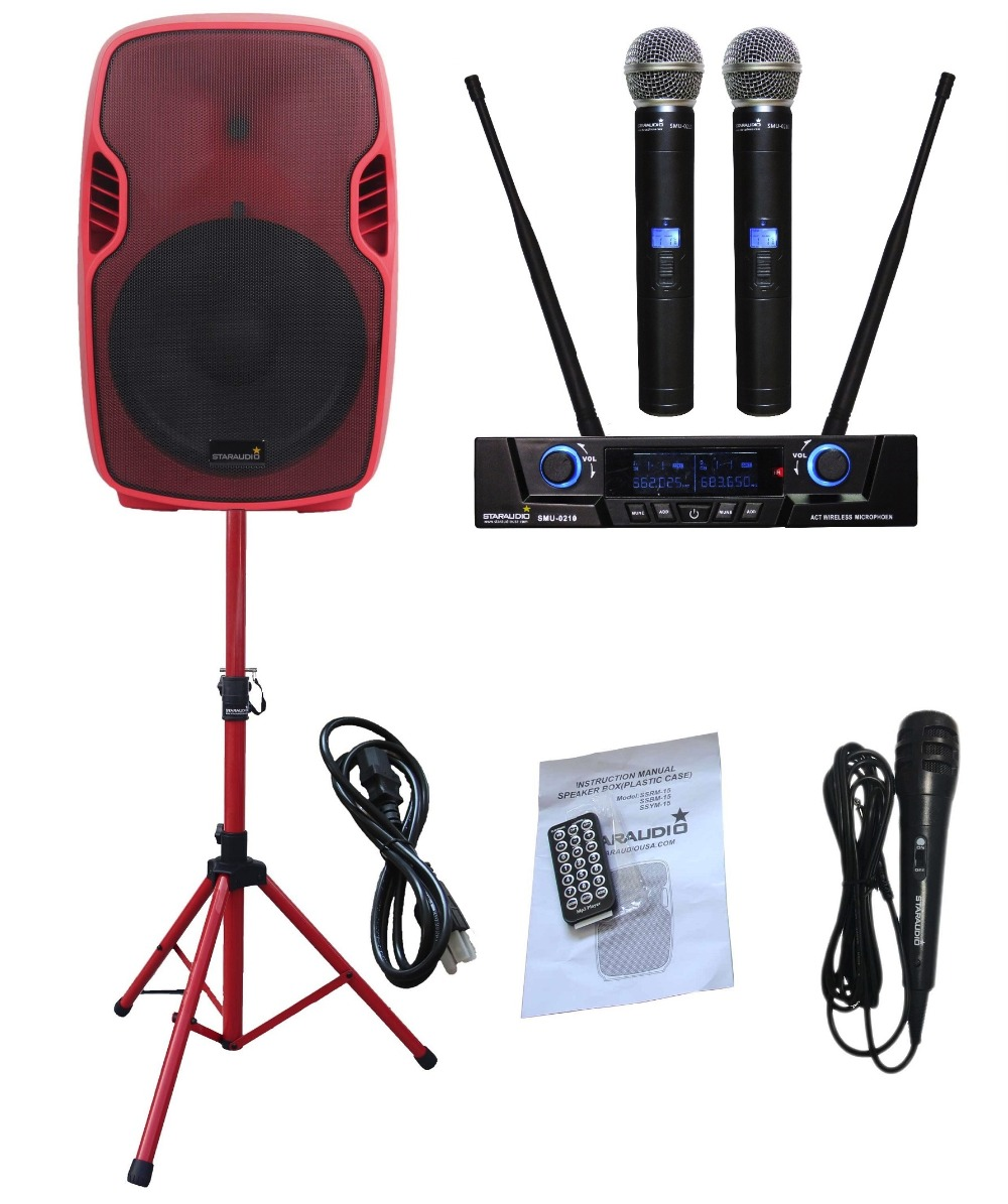 STARAUDIO SSRM 15 Red PA DJ 3500W 15 Powered Active Stage USB SD FM BT Speaker with 2CH UHF LCD Mic