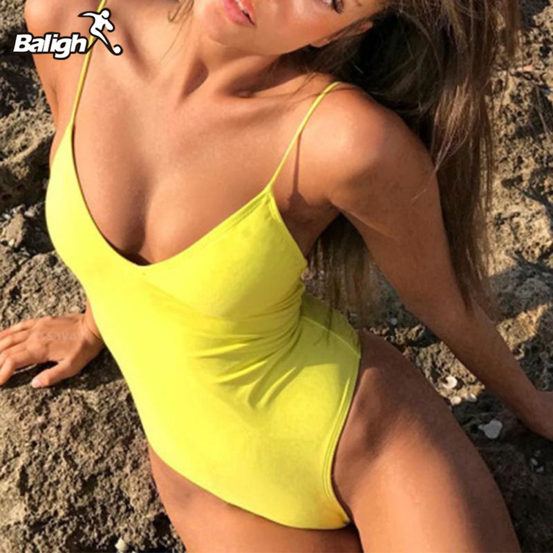 Sommer Bademode Frauen Sling Backless One Piece Schlank Badeanzug Multi-wahl Solide Badeanzüge Bikini Padded Bademode 7 farben