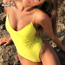 Summer Swimwear Wanita Sling Backless One Piece Slim Swimsuit Multi-choice Solid Bathing Suit Bikini Padded Beachwear 7 colors