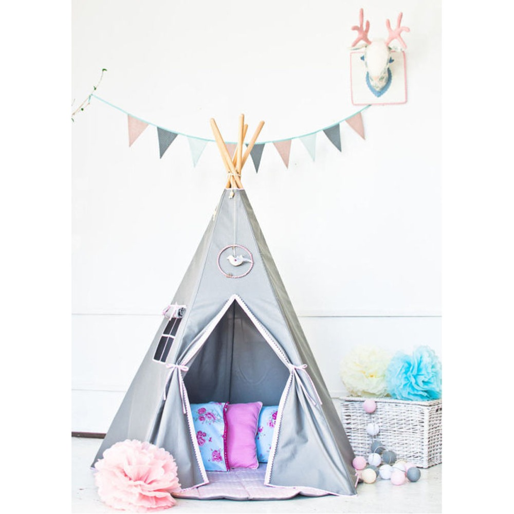 Buy grey color children 39 s teepee play for Reliable tipi