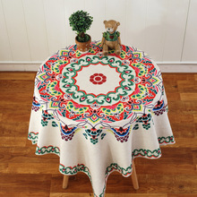 Bohemia style printed flower tablecloths cotton hemp material Table suite cover towel wholesale Custom logo free shipping