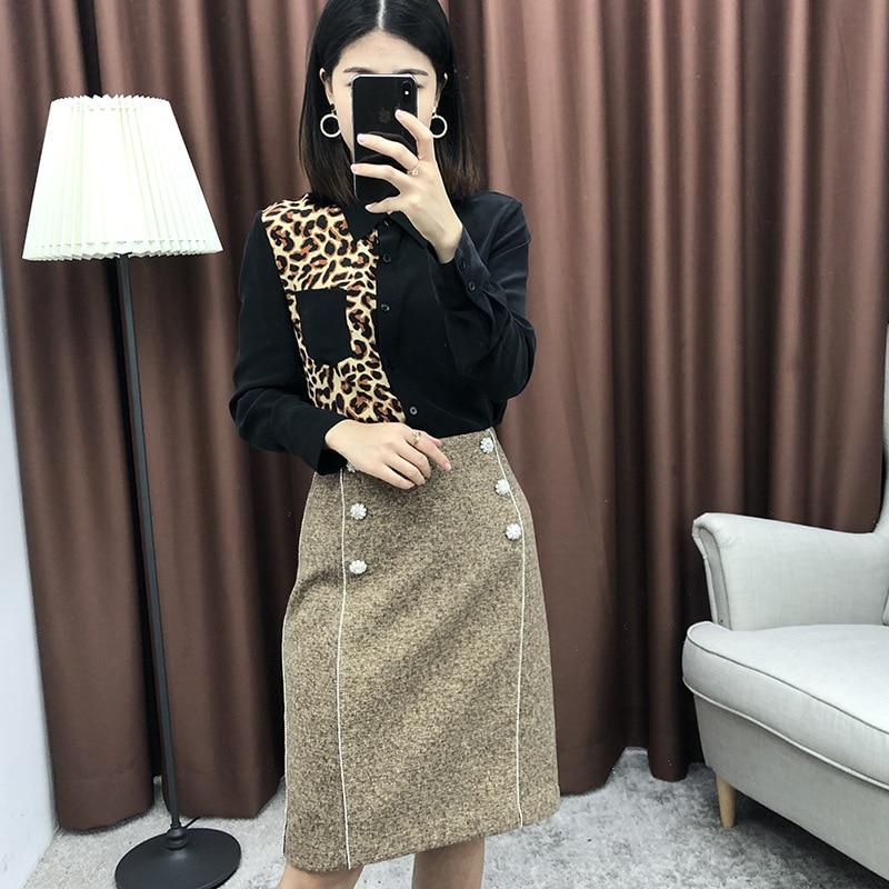 Langarm Leopardenmuster 2019 100Seide Neue Bluse Fr Frauen Y67gvfby