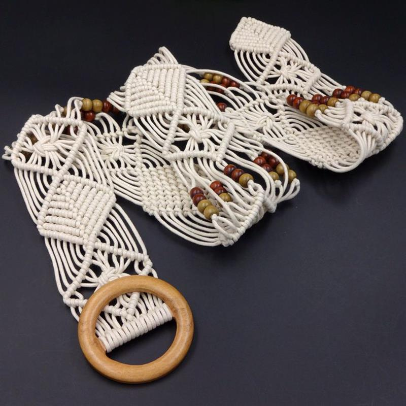Woman Hollow Woven Female Hand-Beaded Braided Belt New Vintage Knitted Wax Rope Wooden Bead Waist Rope Women Smooth Buckle Belt