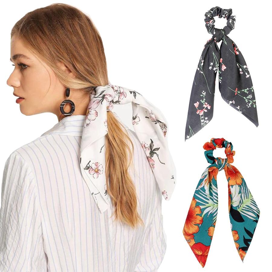 Haimeikang Spring Ponytail Scarf Elastic Hair Rope For Women Hair Bow Ties Scrunchies Hair Bands Flower Print Ribbon Hairbands