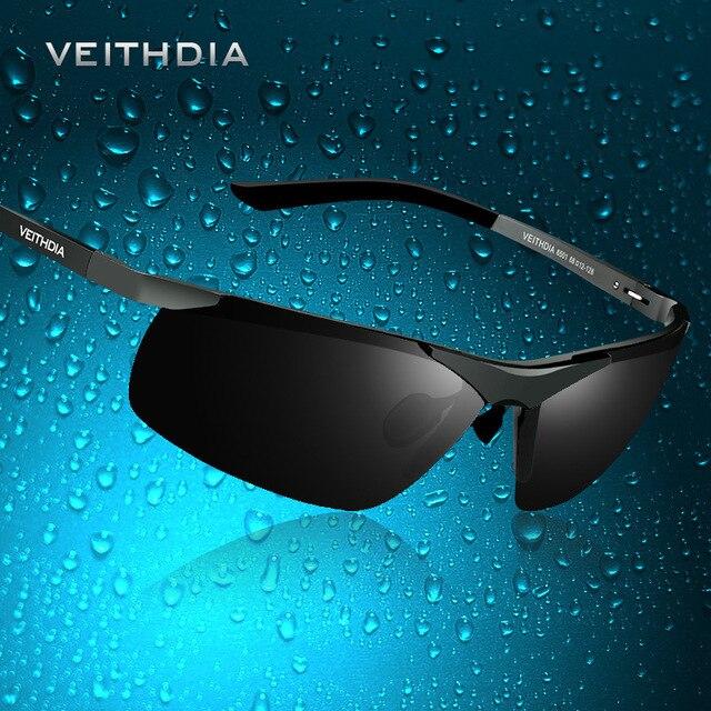VEITHDIA מותג מעצב Alumunum גברים של מקוטב UV400 מראה משקפי שמש ללא שפה מלבן Mens משקפיים שמש Eyewear עבור גברים 6501