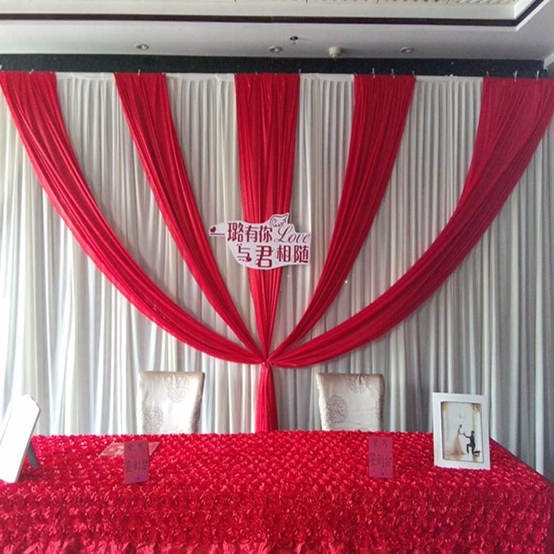 3m x 6m 10ft20ft wedding party event stage decor ivory fabric ice silk drape curtain backdrop with red swags drapes - Silk Drapes