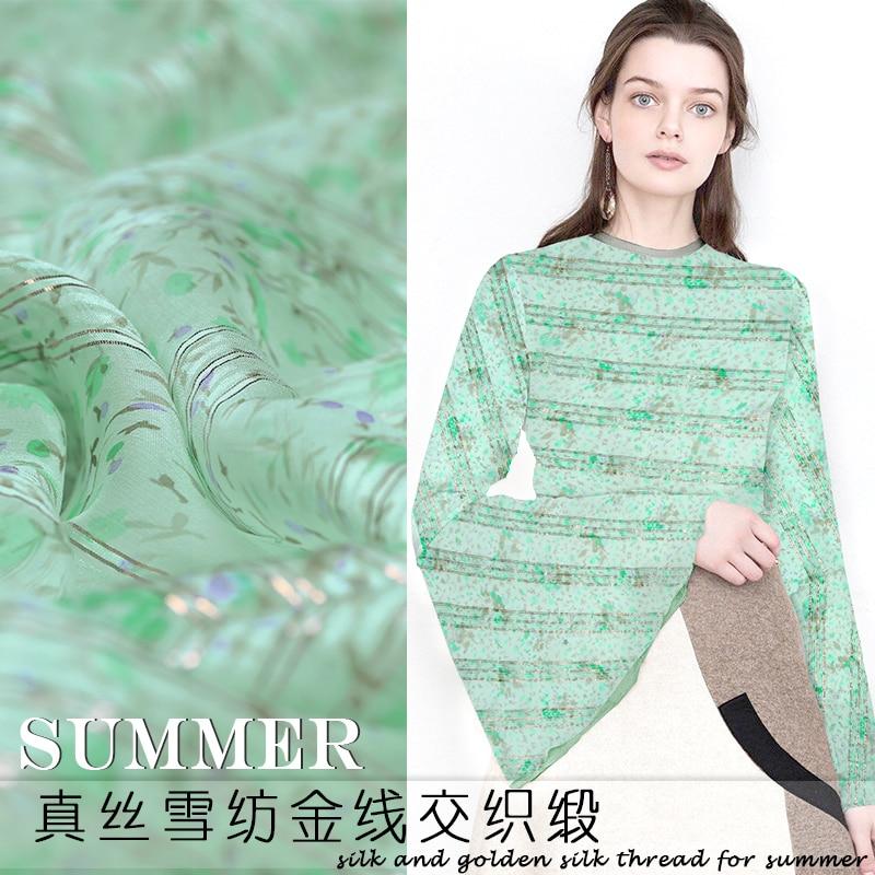 Tissu en soie teint en fil d'or floral vert tissu en mousseline de soie frais d'été tissu en soie naturelle en gros tissu en soie
