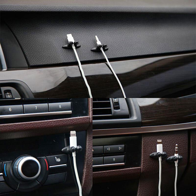 ESPEEDER 8Pcs/Lot Car Wire Cable Holder Tie Clip Organizer Car Charger Line Clasp Clamp USB Cable Holder Car Clip Accessories