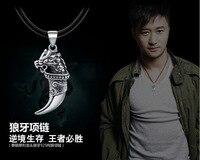 Hot Phi Retro Thai Silver 925 Sterling Silver Necklace Big Spear Pendant Tiger Teeth Pendant Mens