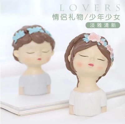 Moule Silicone garçon et fille avec feuilles fleur avatar fait à la main tête d'ange fondant gâteau décoration argile résine arôme pierre moule - 4