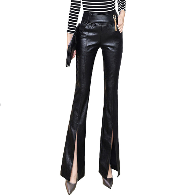 8a2e772d7c6 Sexy Women PU Leather Pants Black Color High Waist Slim Hip Casual Flare Trousers  Fashion 2017