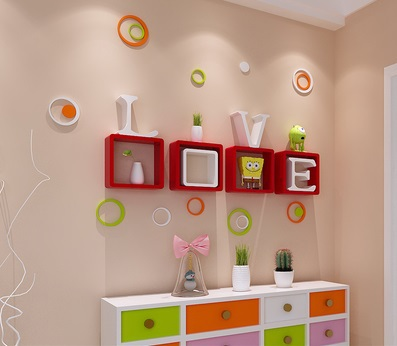 (4 Squares +4 Letters)/Lot Colorful Wall Floating Shelf Shelving LOVE With Screws Decoration Plastic