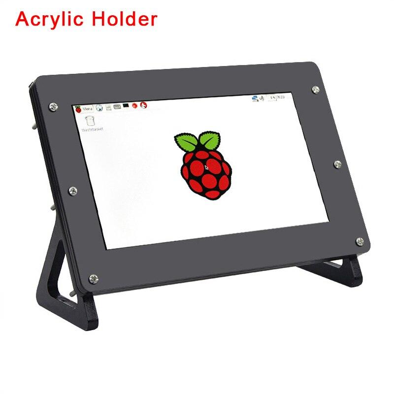 Raspberry Pi 3 pantalla LCD de 7 pulgadas con soporte acrílico y soporte negro para pantalla de 7 pulgadas placa de controlador