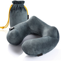 Portable Folding Travel Air Pillow Inflatable U Shape Neck Cushion PVC Flocking Office Car Plane Sleeping Accessory