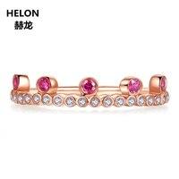 Solid 14 k розовое золото натуральные бриллианты обручальное женское настоящий Рубин обручальное кольцо вечерние юбилейные ювелирные изделия
