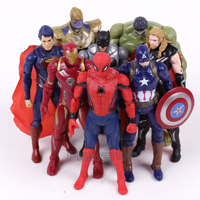 Marvel Super Heroes Iron Man Spiderman Captain America Thor Hulk Thanos PVC Action Figures Toys Gift for Boy 8pcs/set 16CM captain america civil war iron man 618 q version 10cm nendoroid pvc action figures model collectible toys