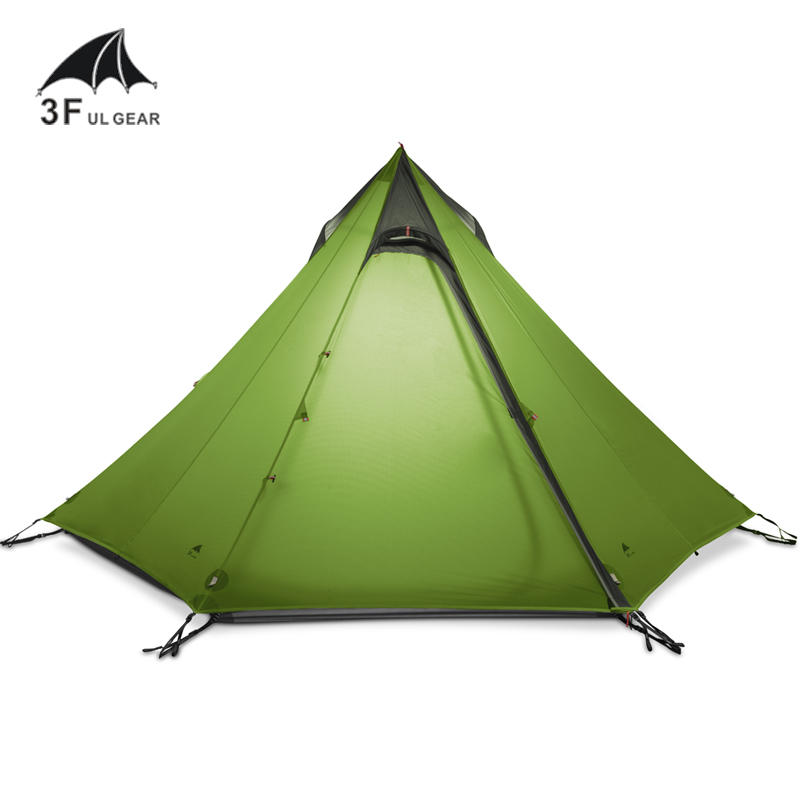 3F UL GEAR Ultralight Outdoor Camping Teepee 15D Silnylon Pyramid Tent 2-3 Person Large Tent Waterproof Backpacking Hiking Tents 210t oudoor light weight backpacking ultralight camping rodless pyramid tent for hiking camping fishing wind firm waterproof