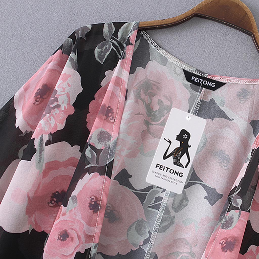 Lâche Taille Dames Floral pt Châle Grande Mousseline Top Beachwear En Imprimé Cover Vêtements Femmes Blouse Longue Up Rose D'été Décontracté Kimono ZgOdqgy
