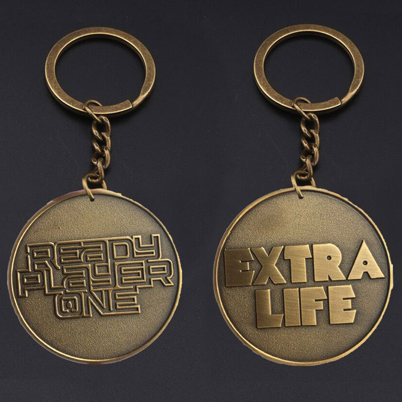 RJ Hot Game Ready Player One EXTRA LIFE Coin Keychains Antique Bronze Bitcoin Key Chain Women Men Fans Souvenir Gift Keyring