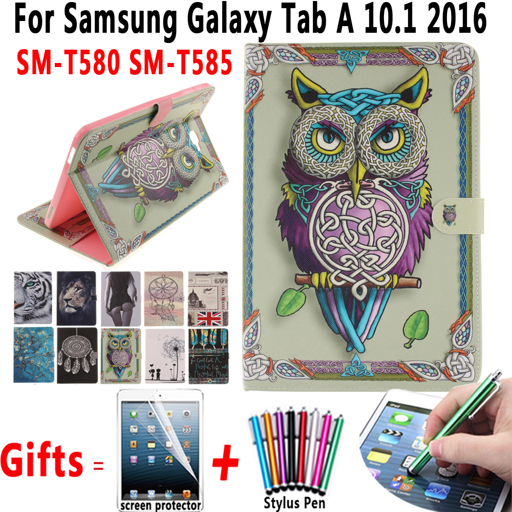 Colorful Painted Cover For Samsung Galaxy Tab A 10.1 2016 T580 T585 SM-T580 SM-T585 Case with Soft Cover with Screen Protector