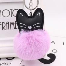 Sale Women Charm Soft Artificial Rabbit Fur Keychain Black Cat Pu Leather Pom Pom Keyring Car Bag Fashion Jewelry Accessory цена 2017