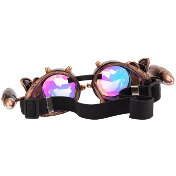 Steampunk Goggles Glasses Vintage Retro Welding Gothic Punk Sunglasses Kaleidoscope Colorful Glasses 2