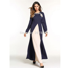 c9f360d2e Azul oscuro flor bordado Anarkali vestidos de noche musulmán vestido Dubai vestidos  de fiesta árabe turco musulmanes Hui de las .