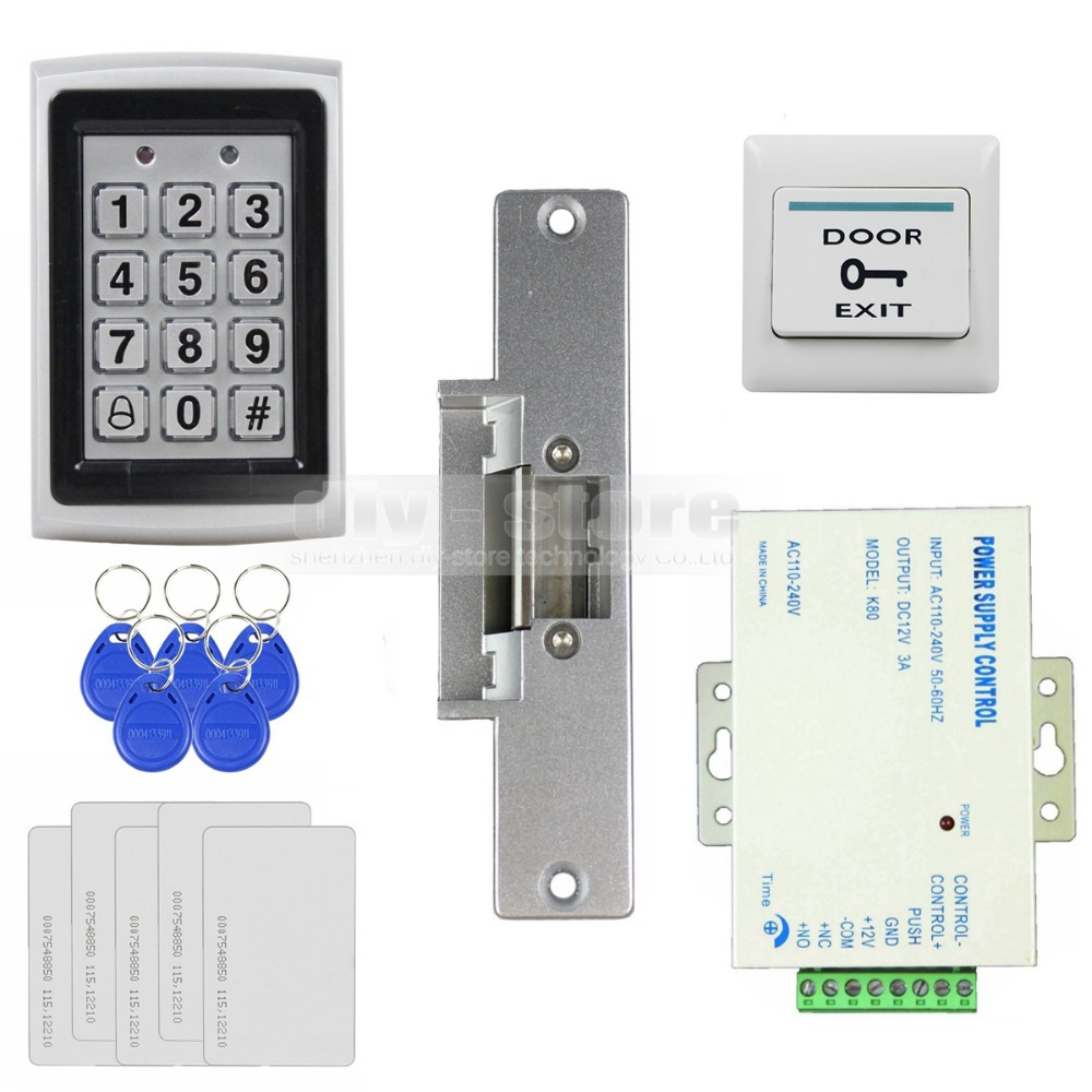 diysecur 125khz rfid metal case keypad door access control security system kit electric strike lock power supply 7612 [ 1000 x 1000 Pixel ]