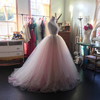 Blush Pink Bridal Ball Gown Tutu Skirt High Waist Floor Lenght Extra Puffy Wedding 2018 Lush Long Prom Party