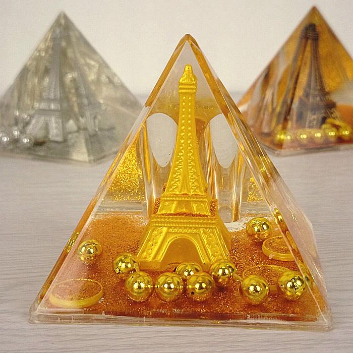 sostenedor de la pluma modelo de la torre eiffel de cristal pirmide de cristal con aceite