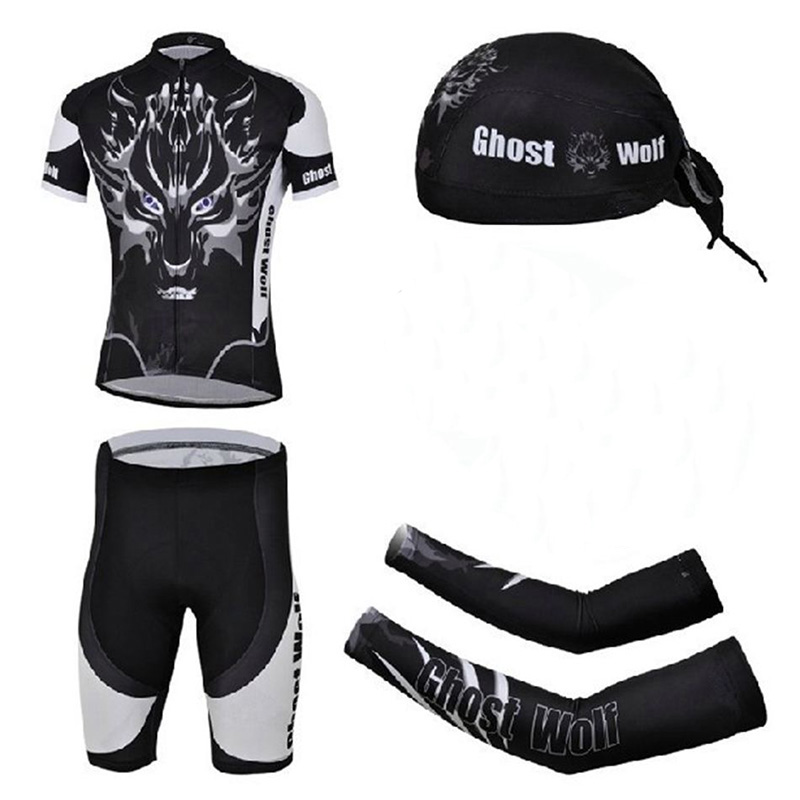 Bicycle Cycling Short Jersey Kit Arm Warmers Sleeves Scarfs Bicicleta Ciclismo Road Bike Clothing Set For Men Wolf Ghost cycling bike bicycle handlebar tape belt wrap w bar plug yellow camouflage 2 pcs