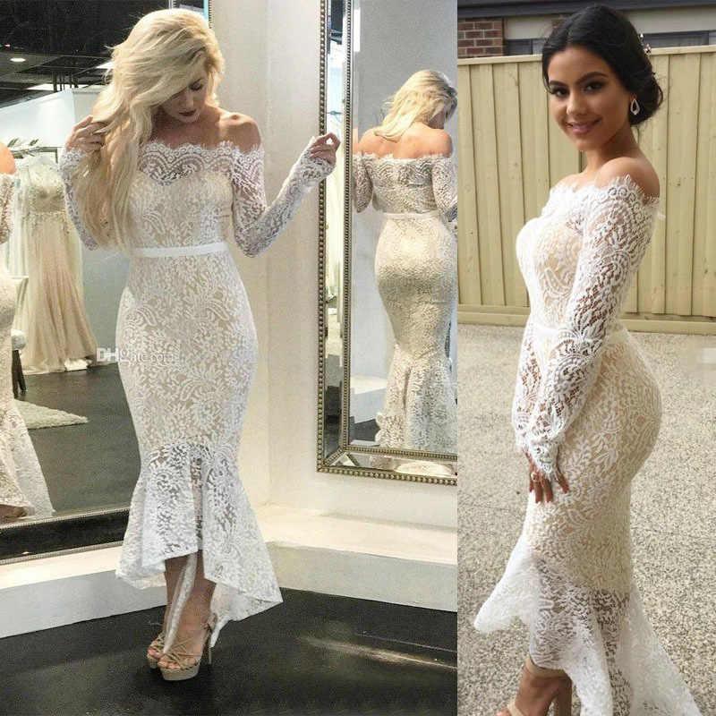 0fb8e37dd6 Backlakegirls Elegant White Boat Neck Evening Dress Lace Appliques  Tea-length Long Sleeve 2018 Hot Sale Prom Gown Robe De Soiree