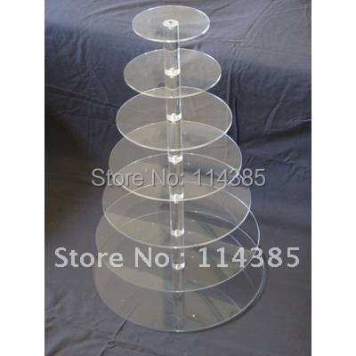7 Tier Round Acrylic Cupcake Stand, 7 Tier Round Perspex Cupcake Stand, 7 Tier Round Plexiglass Cupcake Stand