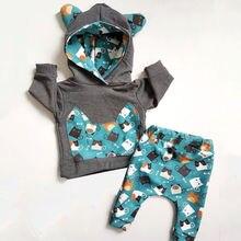 Одежда для новорожденных мальчиков и девочек, хлопковые толстовки с капюшоном и длинными рукавами+ штаны, комплект одежды наряд, спортивный костюм