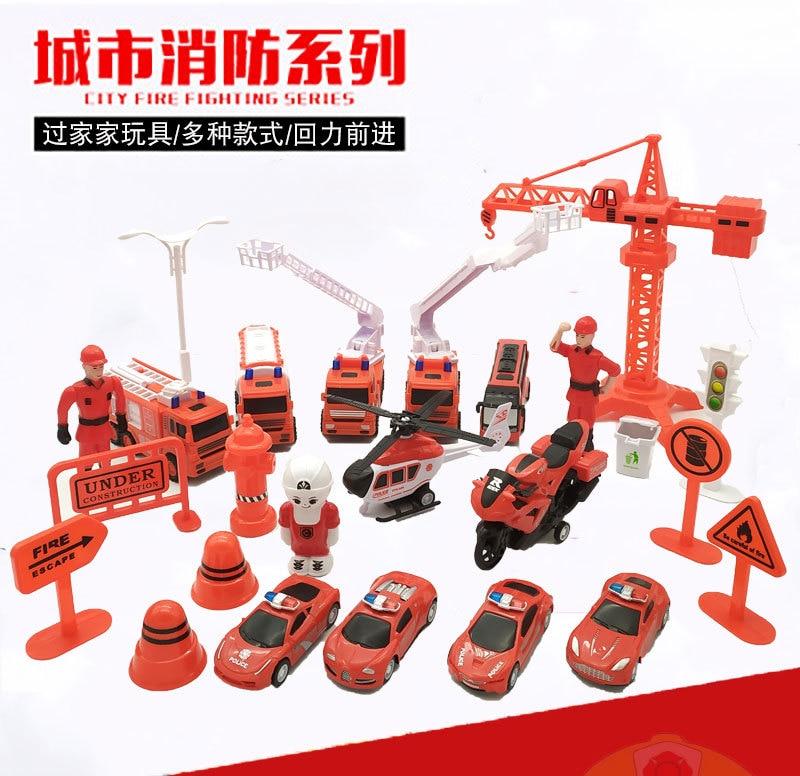 Ville rouge série de lutte contre l'incendie véhicule de sauvetage camion de lutte contre l'incendie hélicoptère casernes de pompiers semblant jouer enfants cadeaux enfants jouets