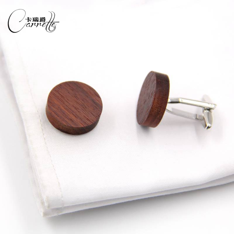 Spot direct business British wind wood solid wood cufflinks sleeve nail men and women French round cufflinks