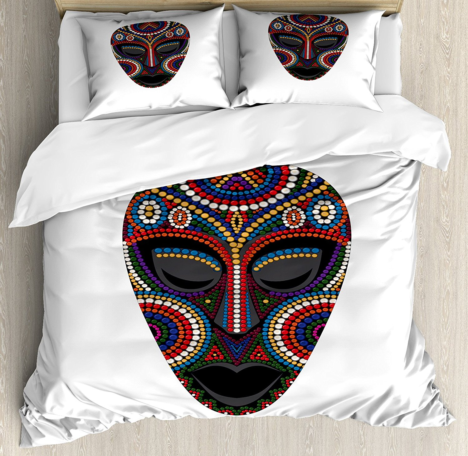 Art Duvet Cover Set Ethnic Colorful African Mask Oriental Folklore Inspiration Tribal Cultures Illustration 4 Piece