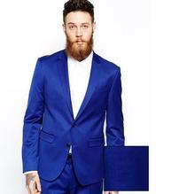 New Men's fits Arrival Groomsmen Notch Lapel Groom Tuxedos Royal Blue Men Suits Wedding Best Man (Jacket+Pants)