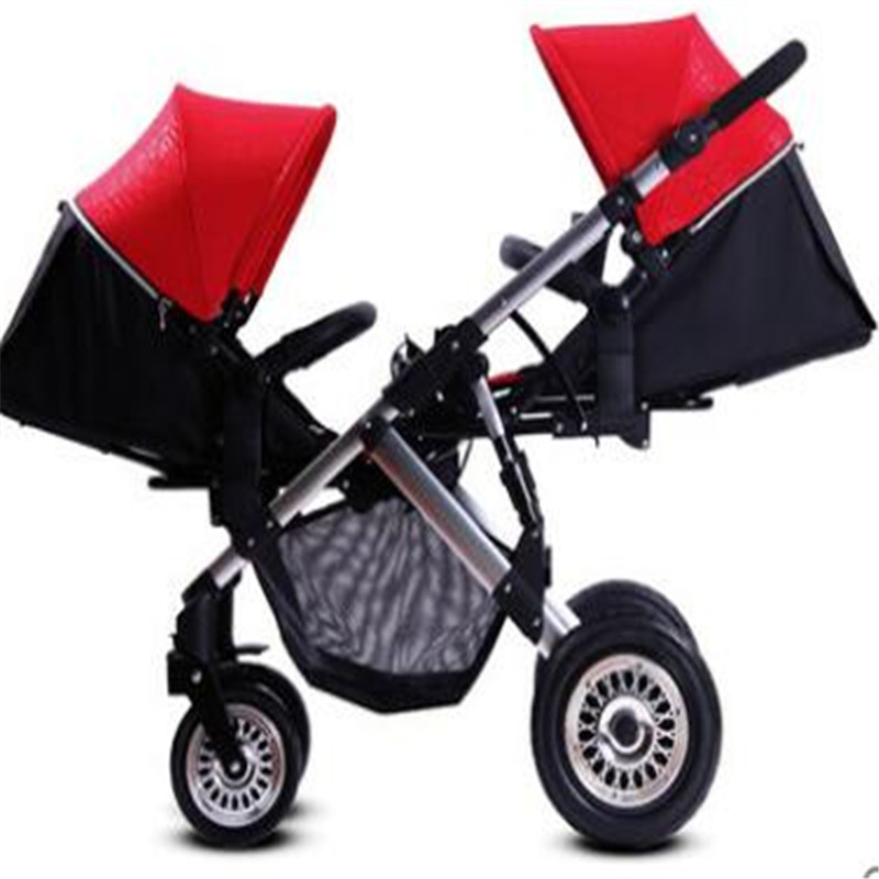 Us 12 49 3 In 1 Luxury Landscape Folding Travel Stroller Babies Twins Strollers For Two Babies Kids Trolley Boy And Girl Stroller In Strollers