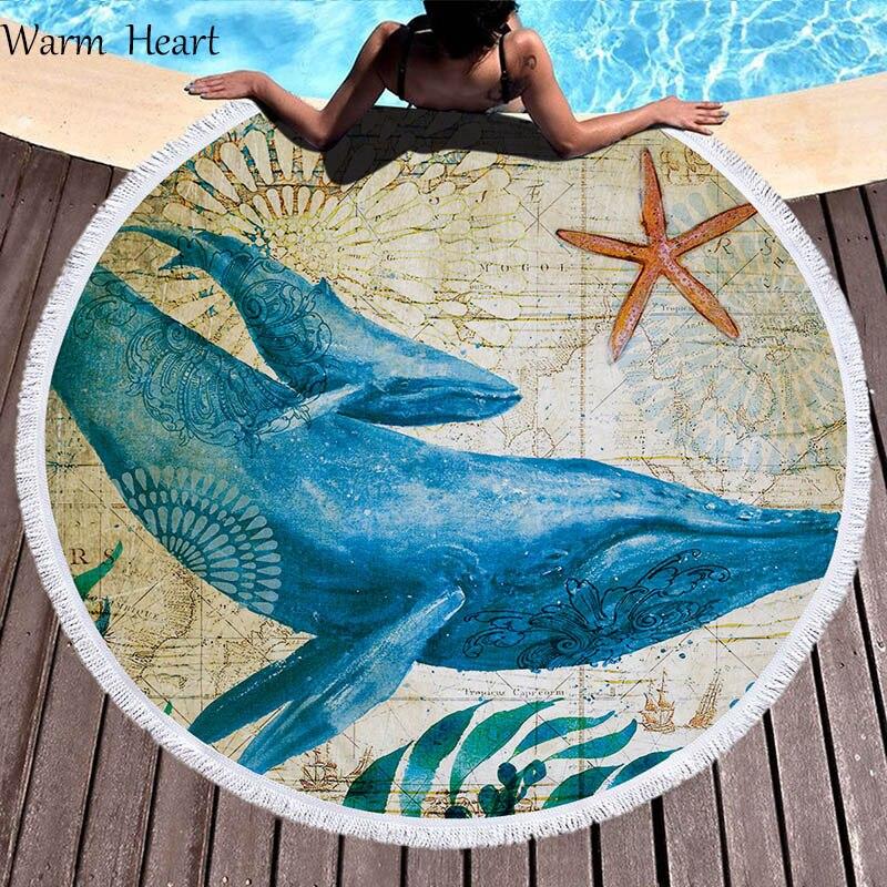Nuova Moda Blue Whale Tartaruga Di Mare Di Stampa Di Grandi Dimensioni Telo Mare Nappe Spessa Rotondi Del Cerchio Tessuto In Microfibra Per Lo Yoga Coperta Da Picnic Scialle Tappeto Bianchezza Pura