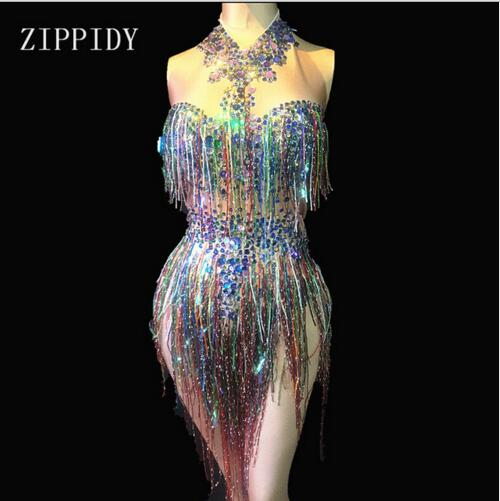 Bodysuit Women Stage Dance Costume Nightclub Dance Female Singer Show Bright Leotard Colorful Fringes Rhinestones
