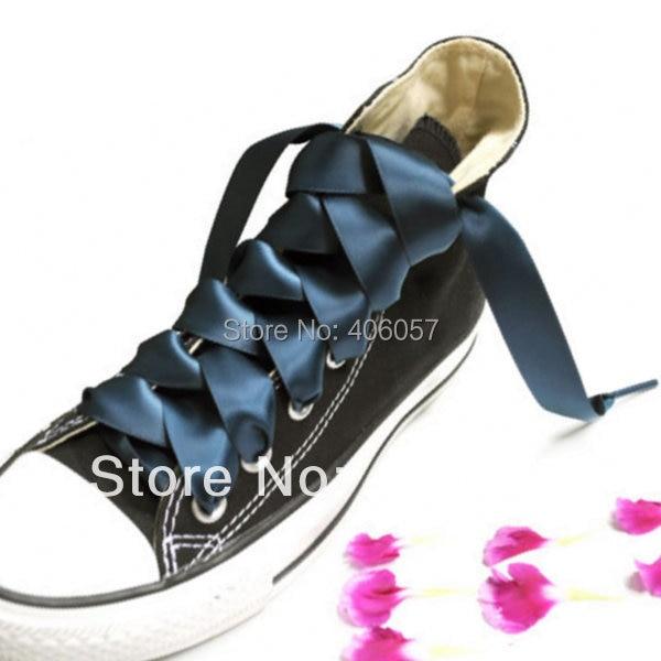 Sea blue satin ribbon shoelace 2CM width