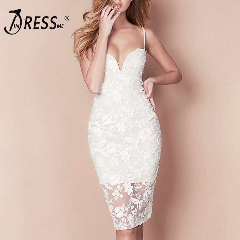 INDRESSME Sexy Strapless Spaghetti Strap Lace Women Bandage Dress Elegant Solid Knee Floral Spring Women Party Dress Vestidos