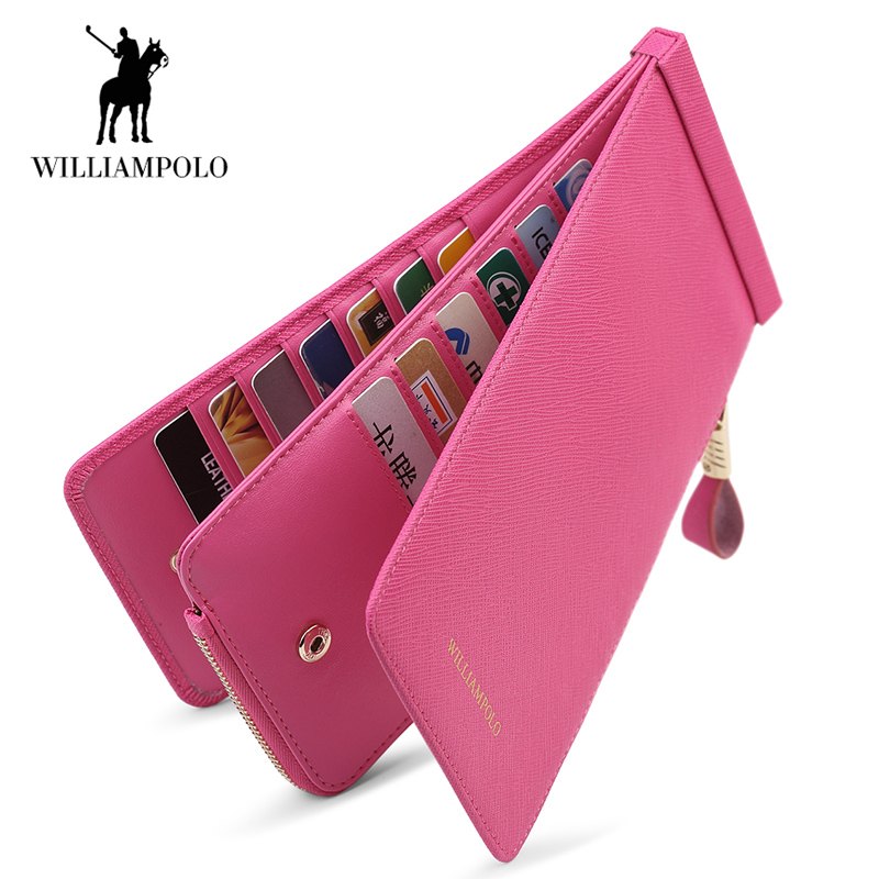 WilliamPOLO Credit Card Holder Long Clutch Wallet Men Women Genuine Leather Multi Card Handbag Phone Purse with Zipper Pocket111