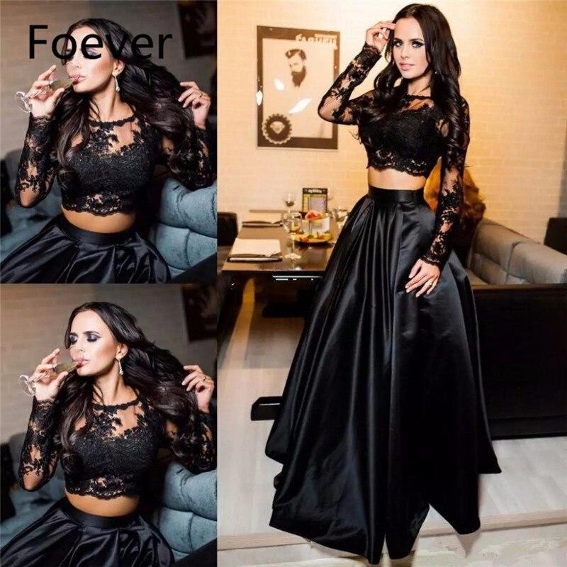 2019 Black Two Pieces Prom Dresses Jewel Neck Illusion Long Sleeves Lace Appliques Plus Size Party