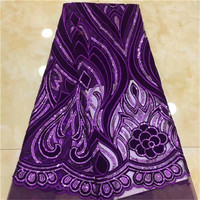 African Velvet Lace Fabric 2019 Newest Wedding Lace In Purple Tissu Mariage Velvet Lace Materials